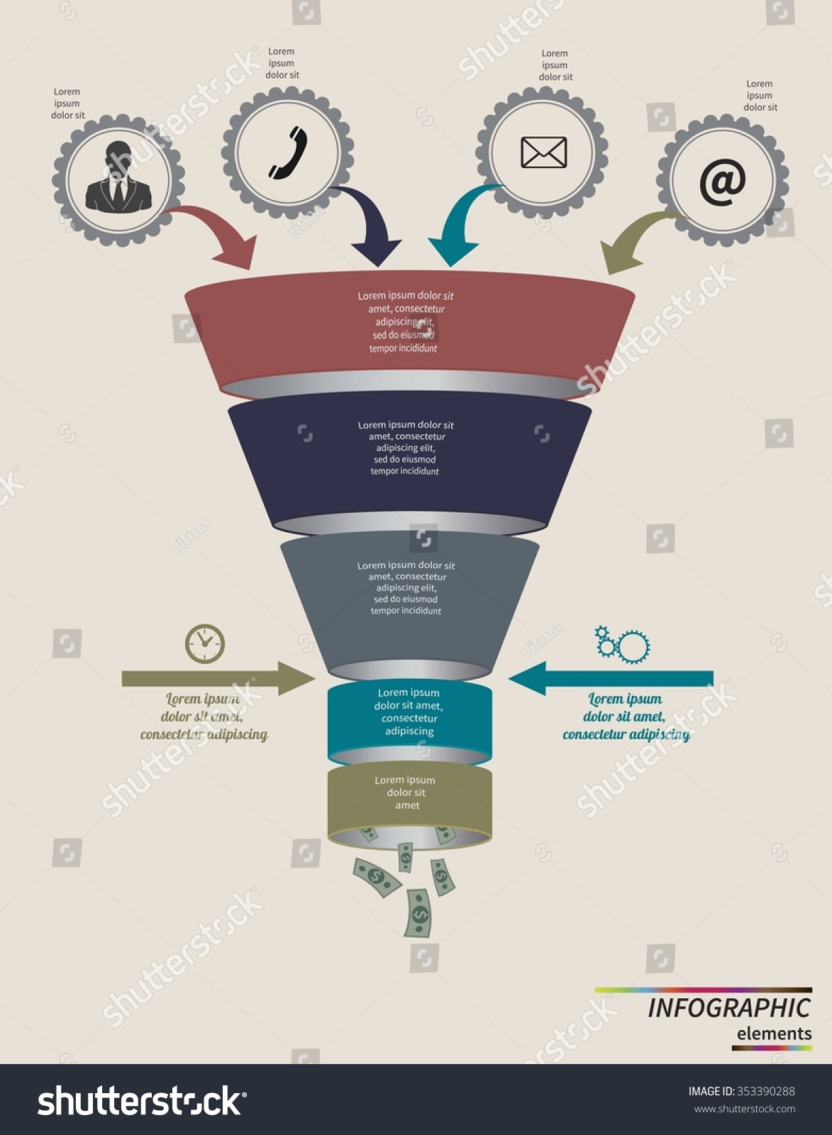 Funnel Flow Chart Infographic Template Design Stock Vector