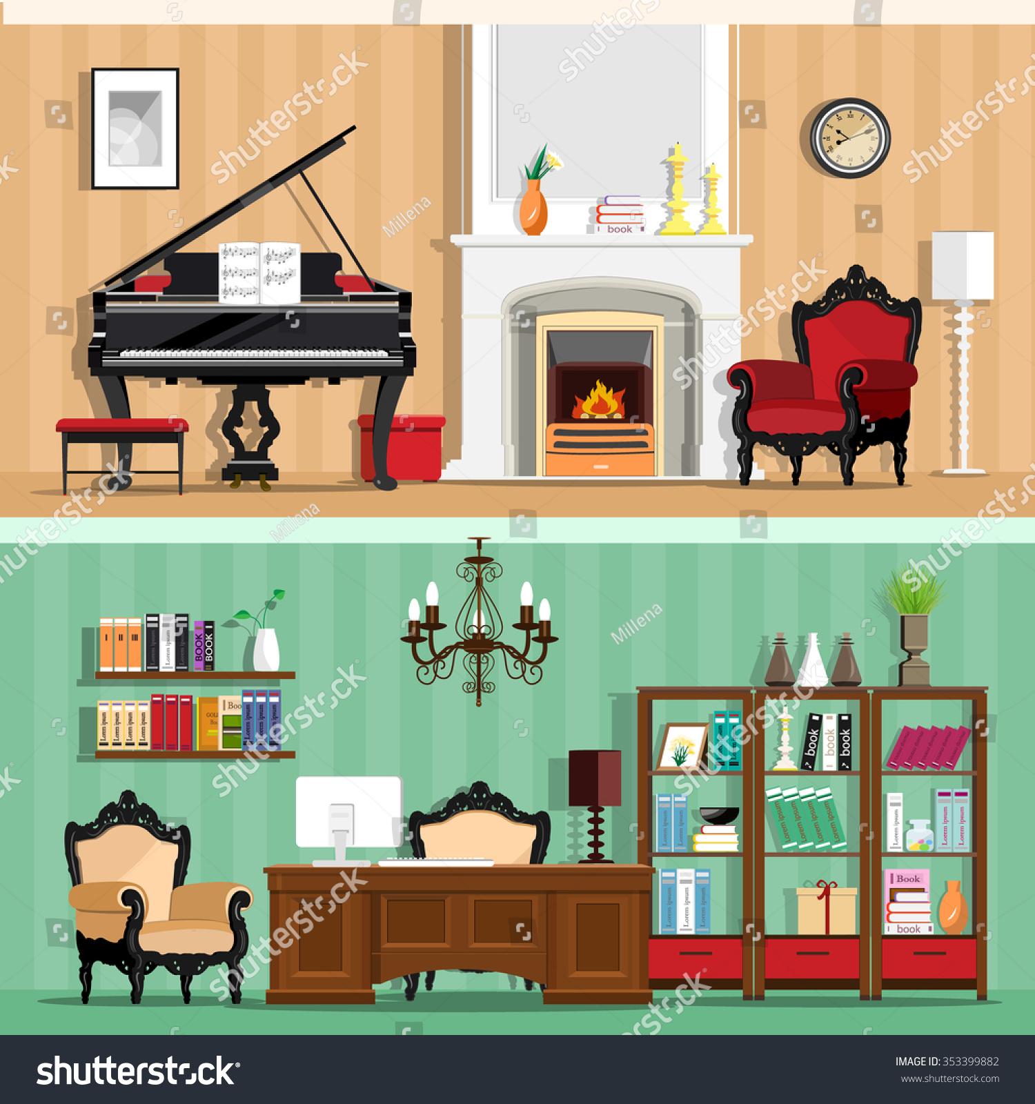 Set Colorful Vector Interior Design House Stock Vector 353399882