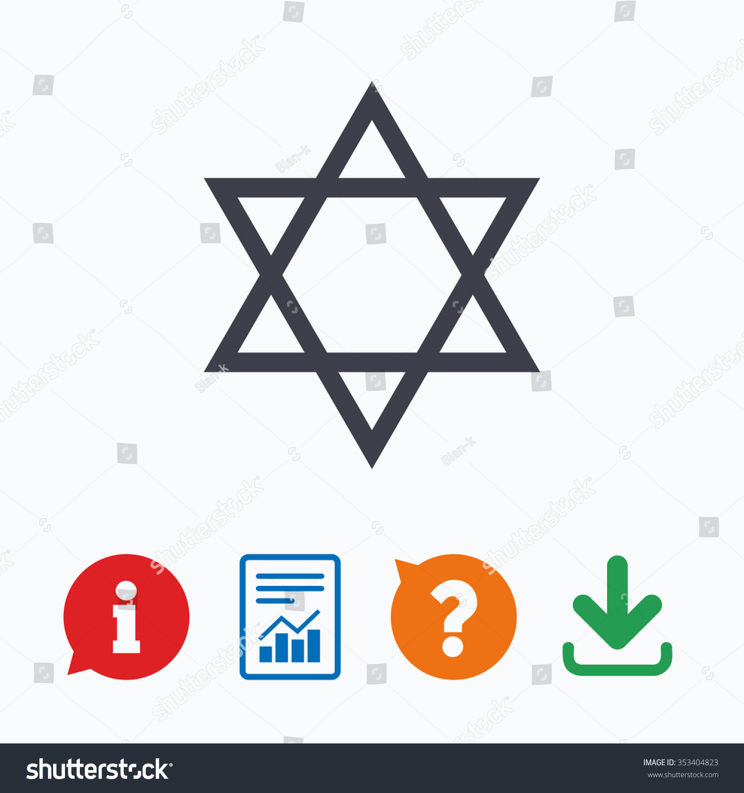 Star David Sign Icon Symbol Israel Stock Illustration 353404823
