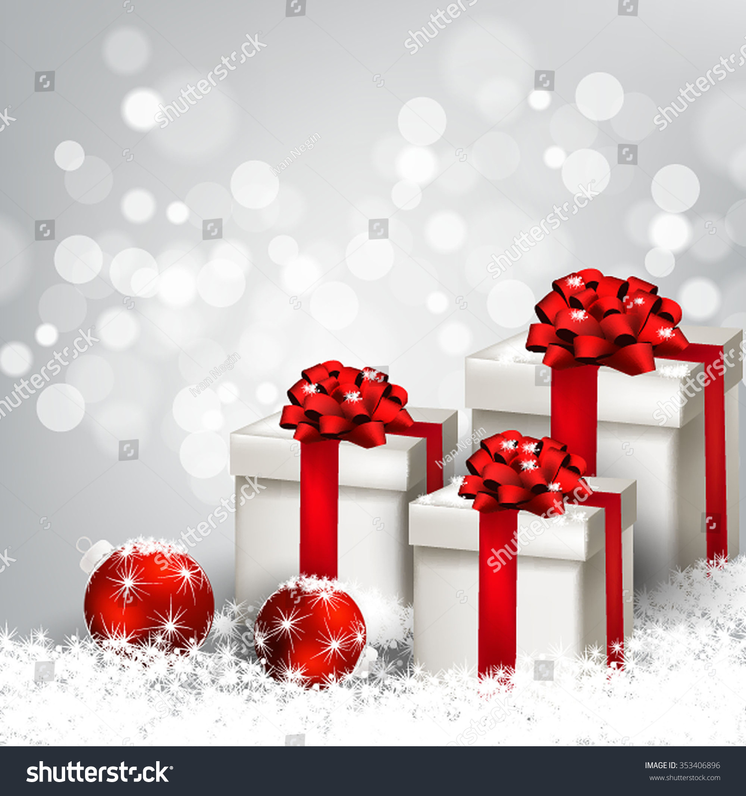 Christmas Party Invitation Fir Branch Bow Stock Vector 353406896 ...