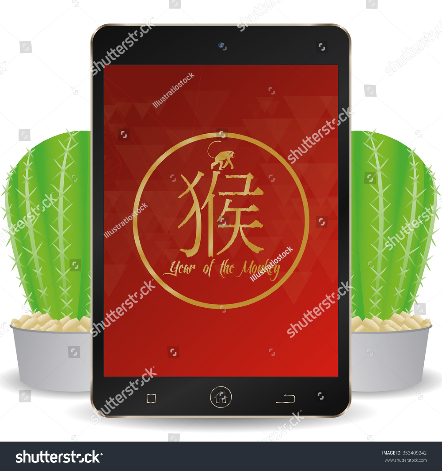 isolated cellphone with a chinese new year screensaver