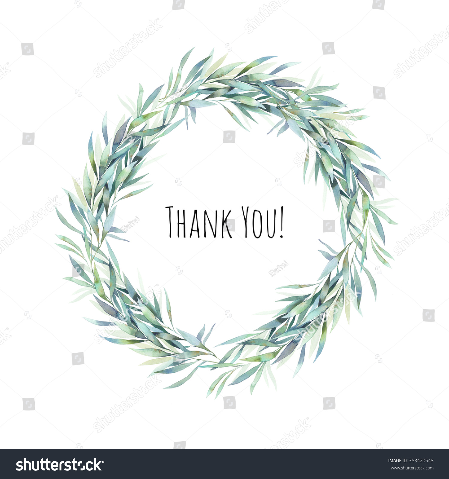 Watercolor Thank you card Hand painted leaves wreath Round label frame isolated on white background Natural design element