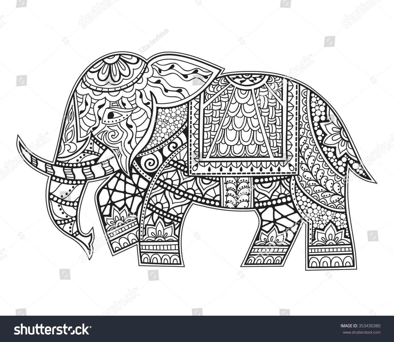 Hand Drawn Ethnic Elephant Zenart Stylized Stock Vector 353430380