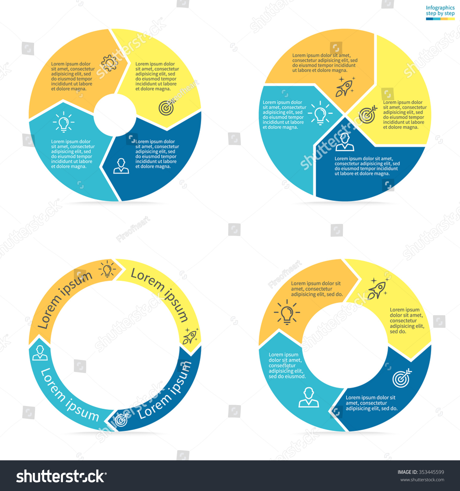 circular infographic colored sections pie charts stock vector