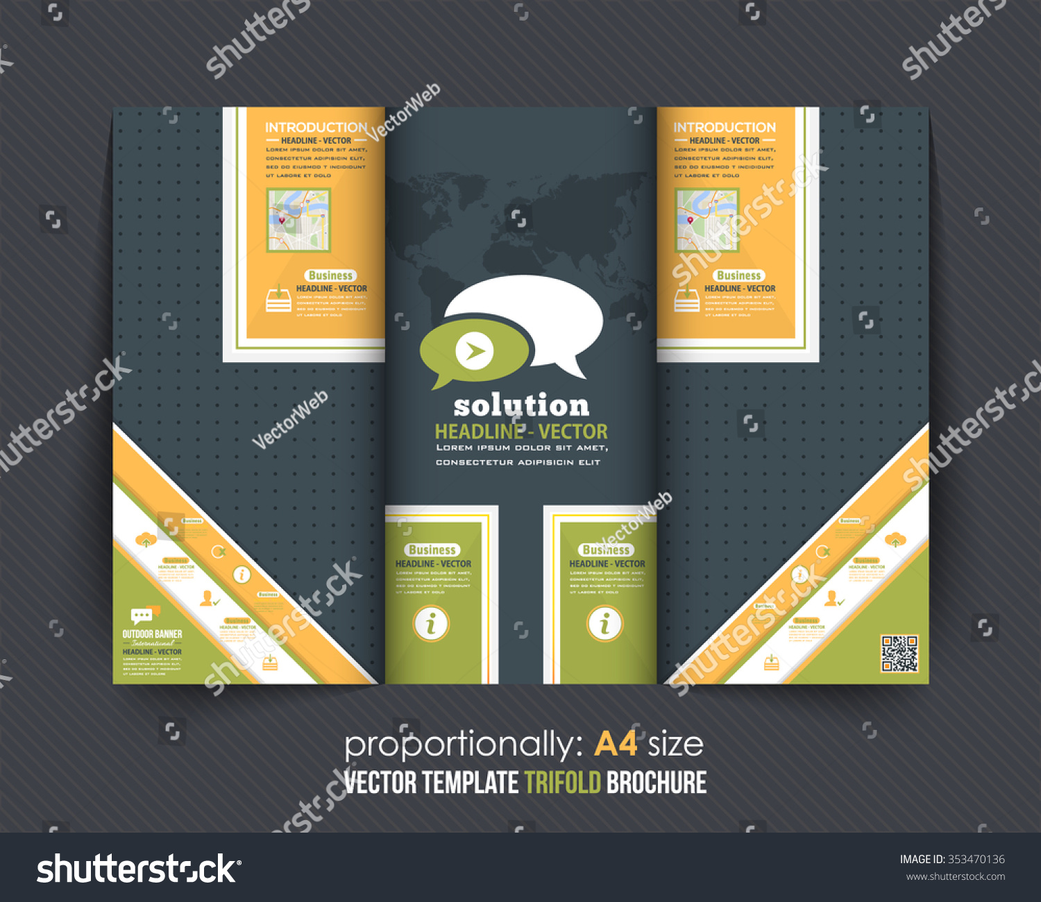 Business Template Trifold Brochure Catalog Vector Stock Vector