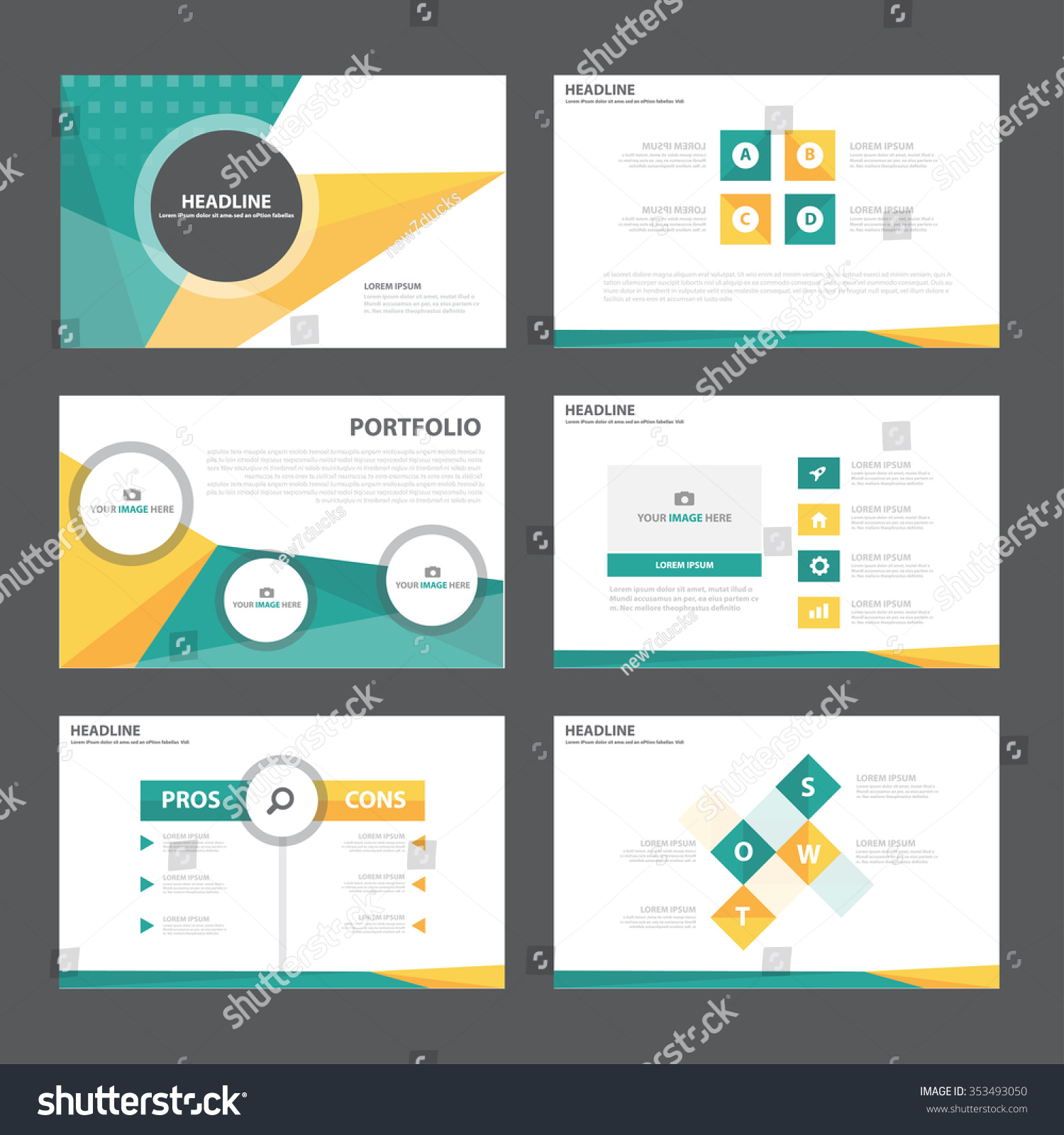 royalty-free green orange presentation template… #353493050 stock, Powerpoint templates