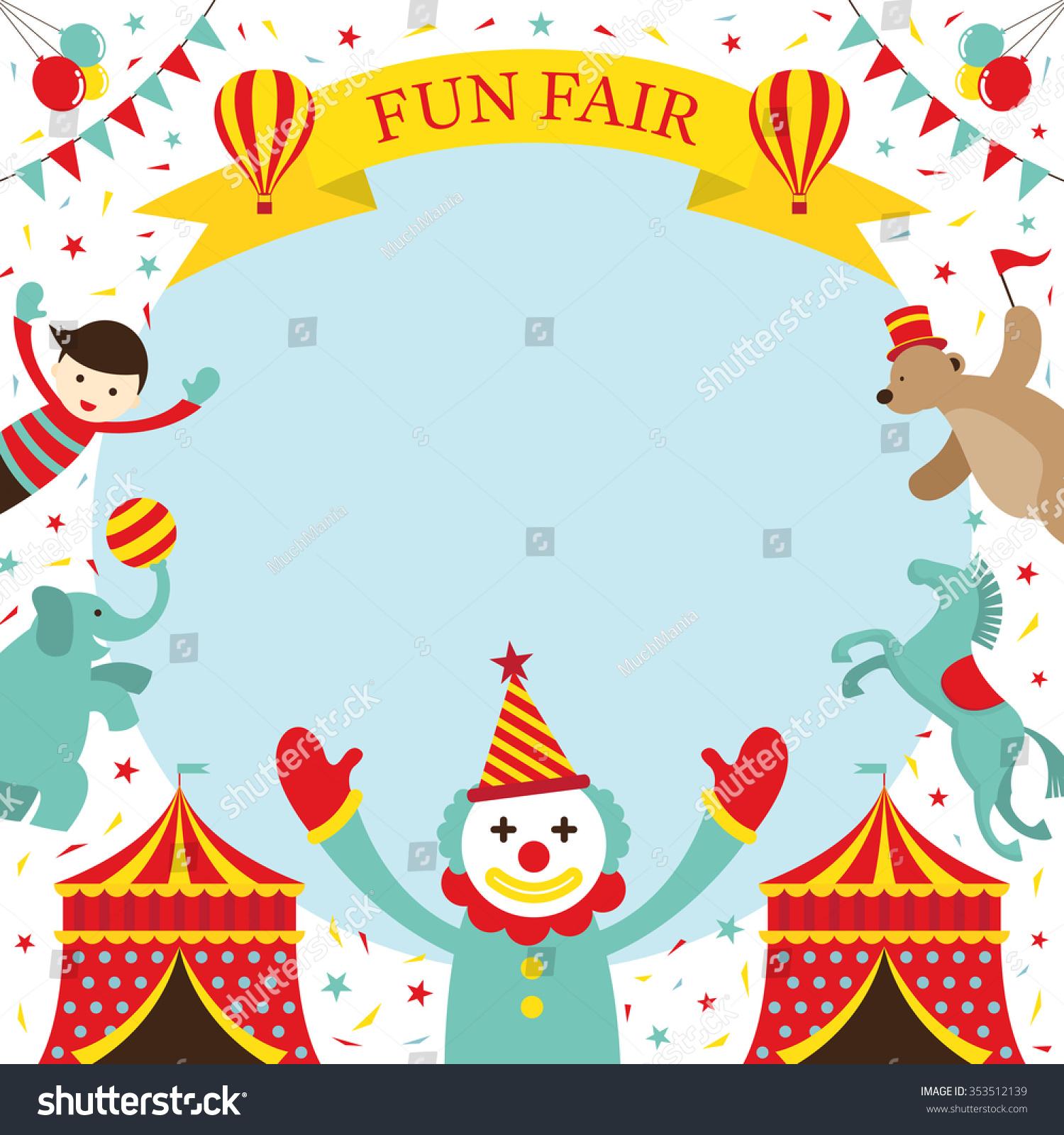 Fun Fair Carnival Circus Frame Amusement Stock Vector 353512139 ...