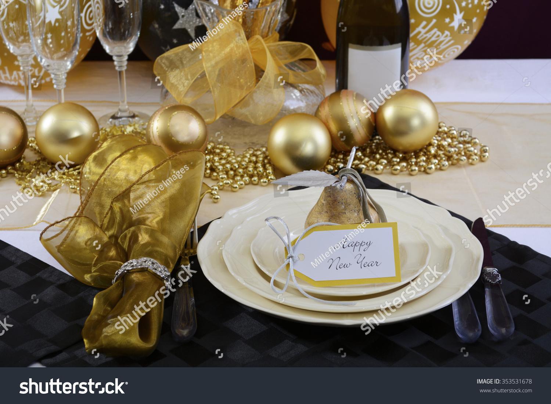 Happy New Years Eve Elegant Dinner Stock Photo 353531678