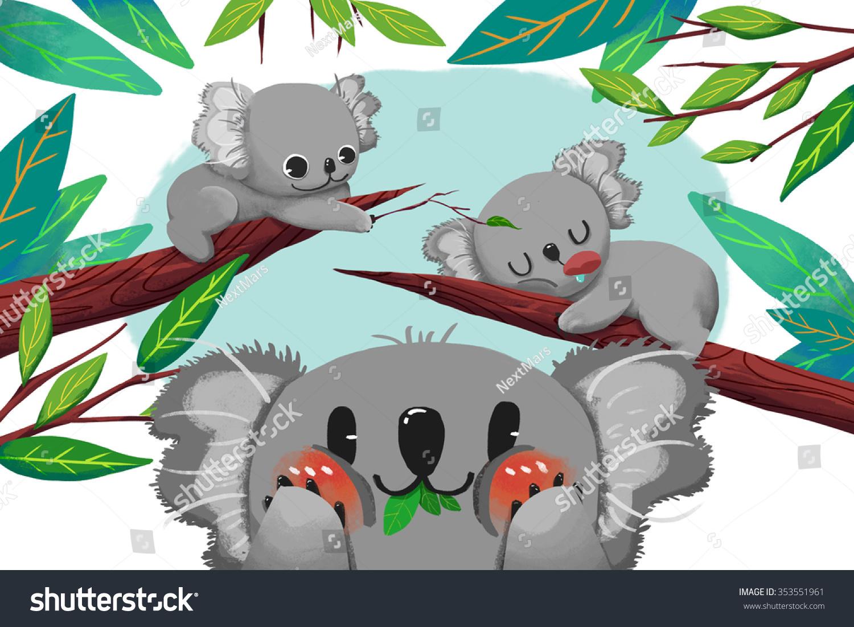 Good Wallpaper Koala Cartoon - stock-photo-illustration-for-children-the-koala-bear-card-realistic-fantastic-cartoon-style-artwork-story-353551961  Gallery_30516   .jpg