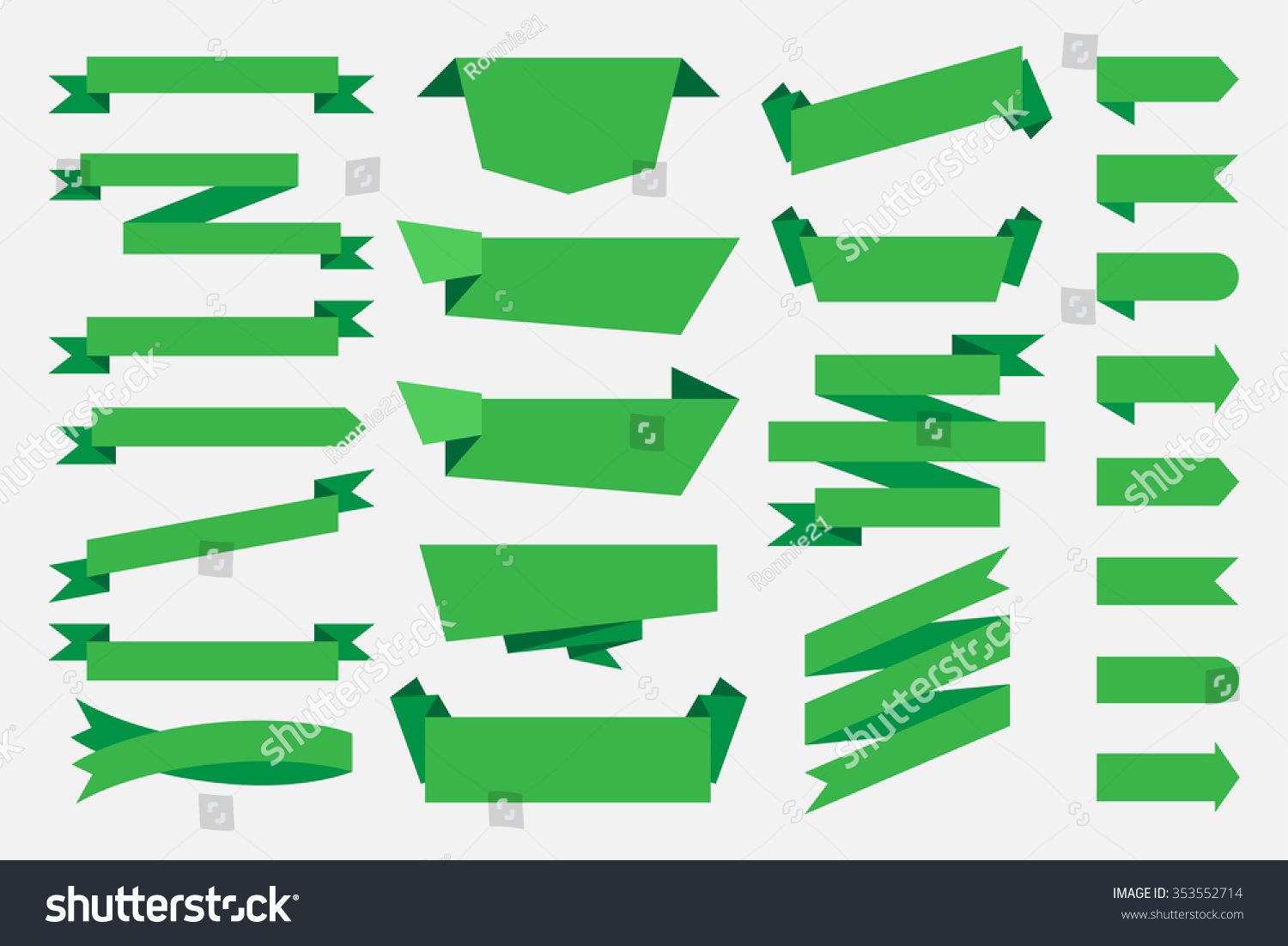 green ribbons banners tags labels vintage stock vector royalty free