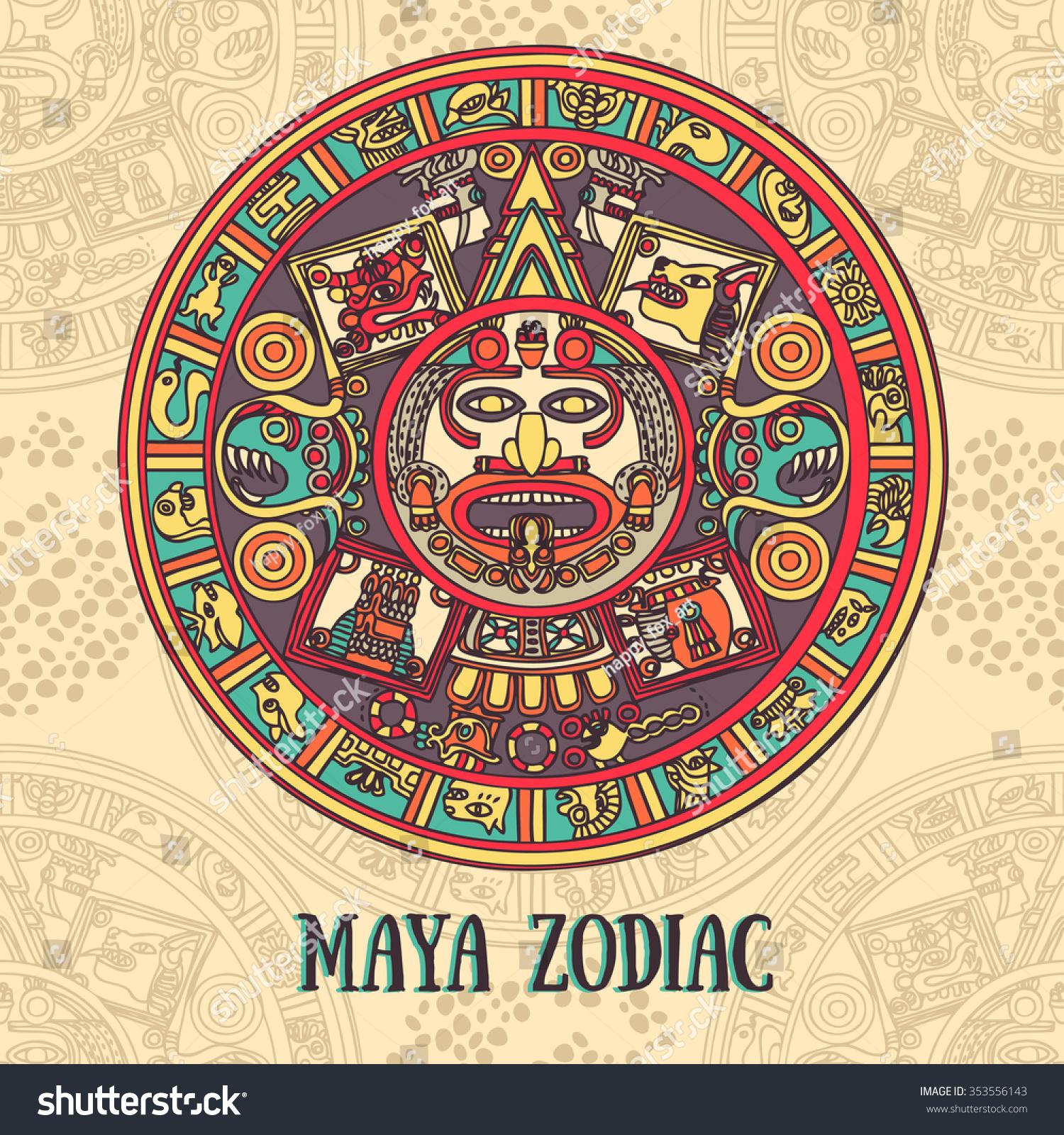 Maya Zodiac Card Ethnic Ornament Vector Stock Vector 353556143
