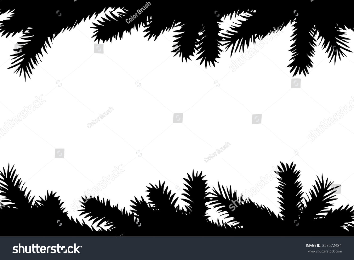 Christmas Tree Branches Borders Black Silhouette Stock