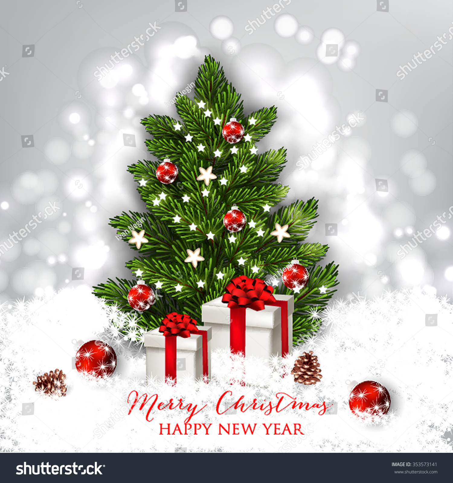 merry christmas and happy new year card with gift box and christmas tree christmas party