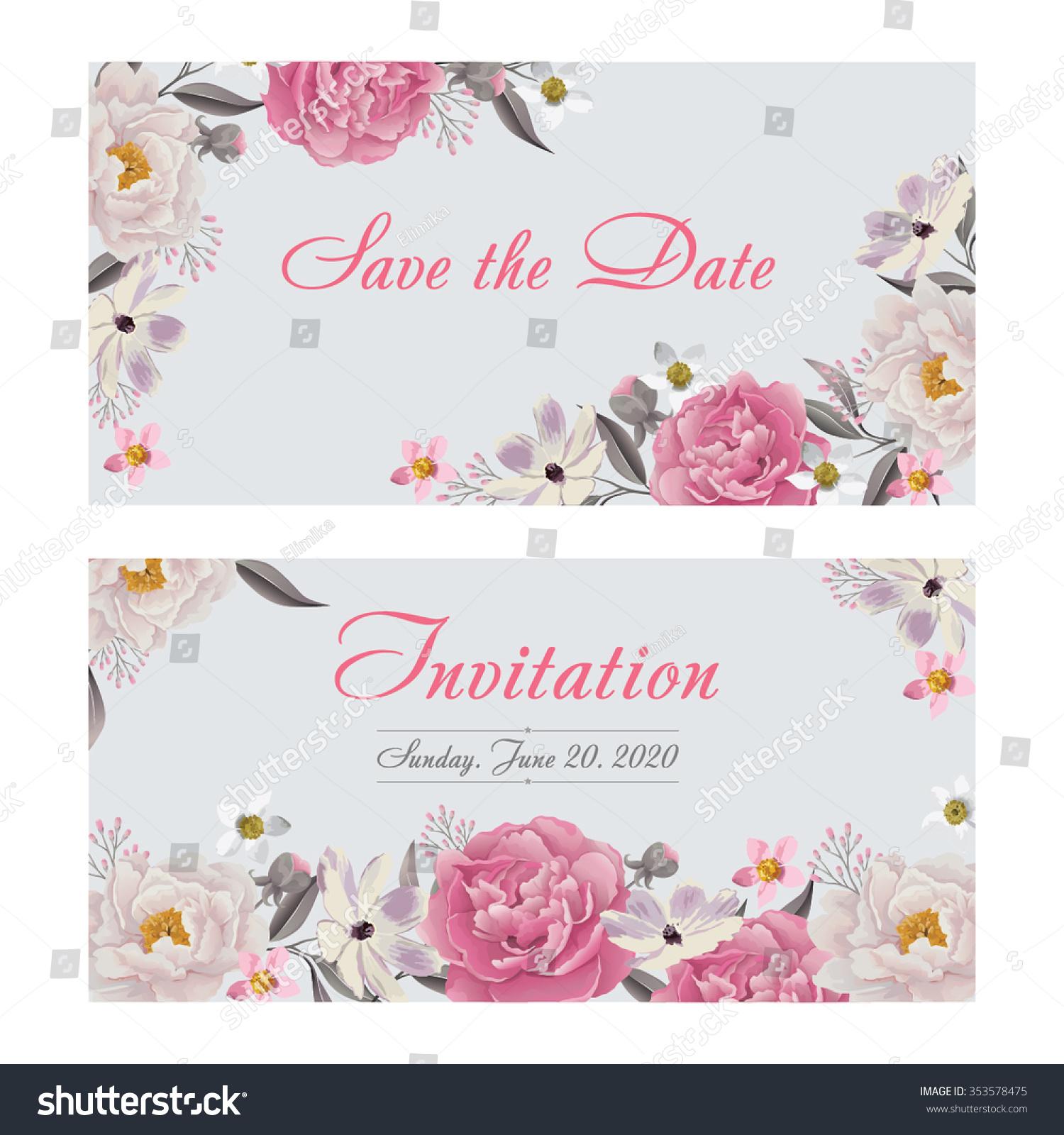 Flower wedding invitation card save date em vetor stock 353578475 flower wedding invitation card save the date card greeting card wedding card or stopboris Choice Image