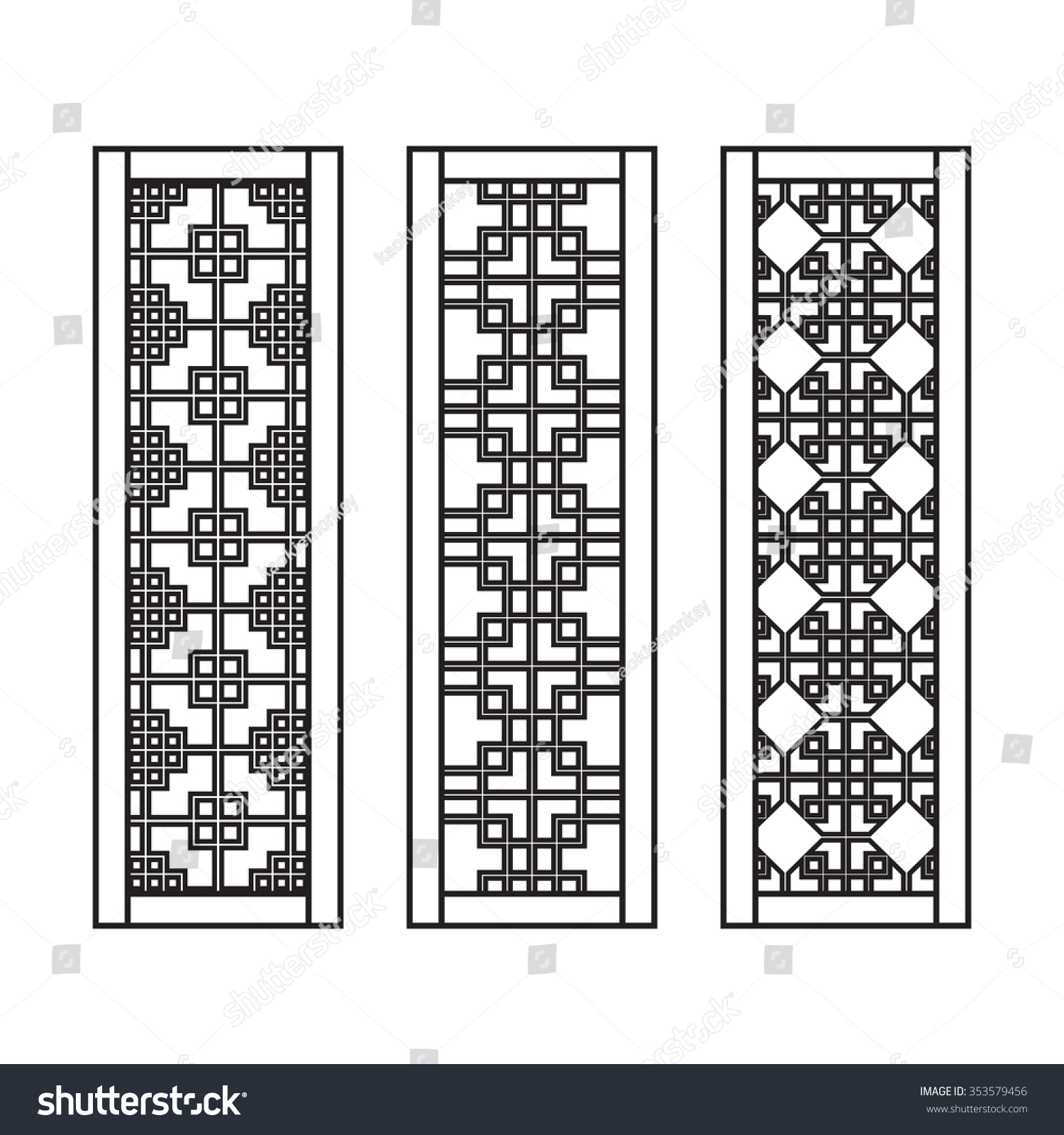 Traditional asian window and door pattern vector set for Design patterns of doors