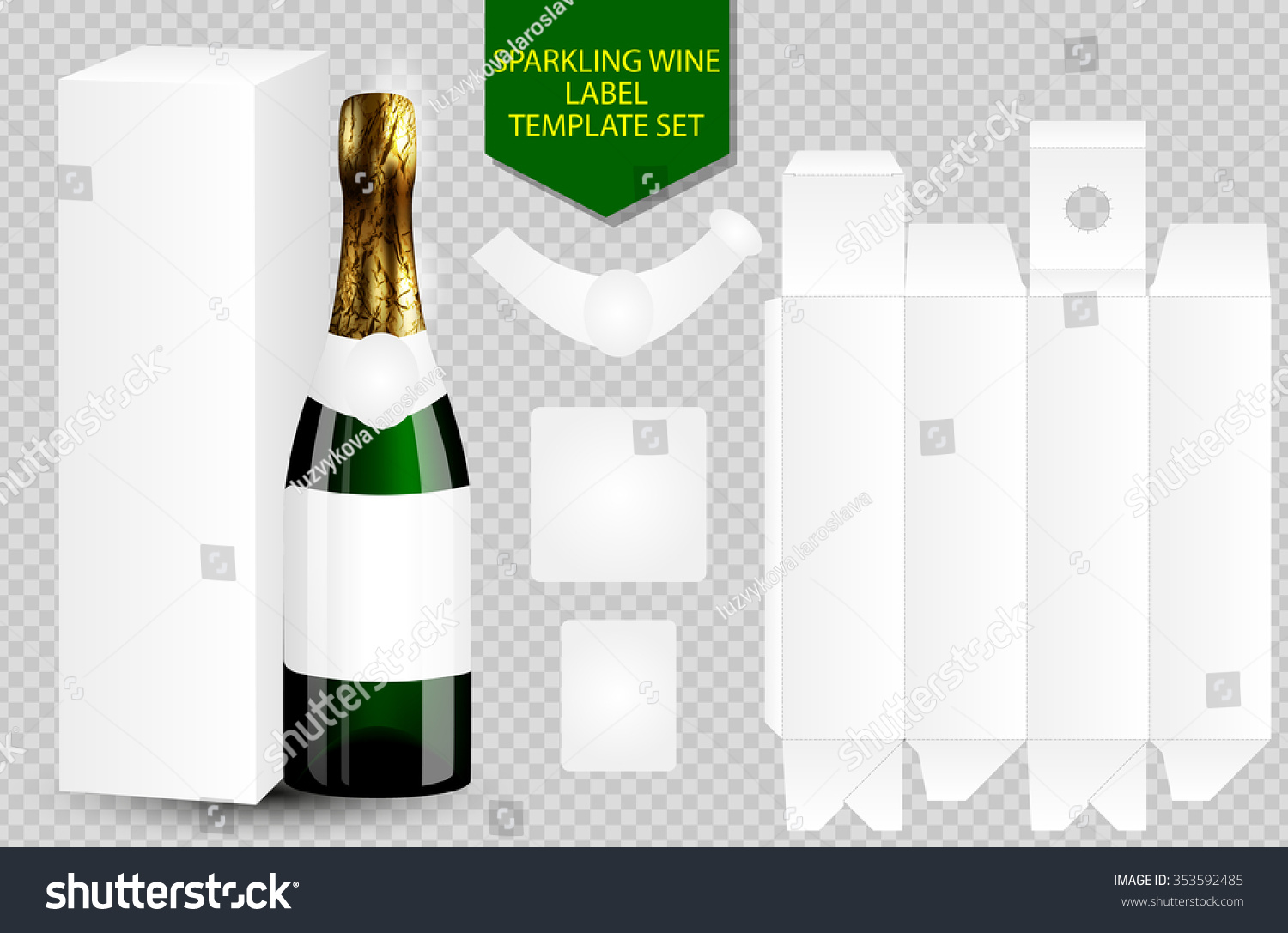 blank white label wine bottle package stock vector 353592485 shutterstock. Black Bedroom Furniture Sets. Home Design Ideas
