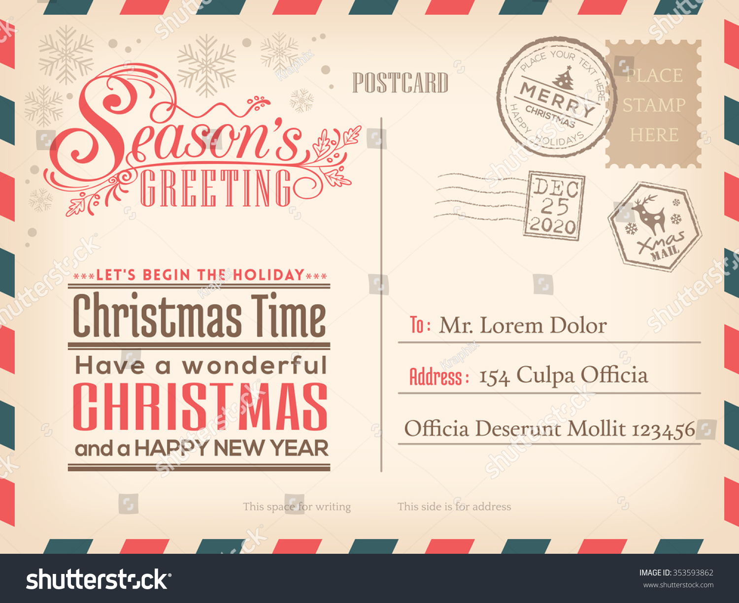 Vintage Christmas Happy New Year Holiday Stock Vector (2018 ...