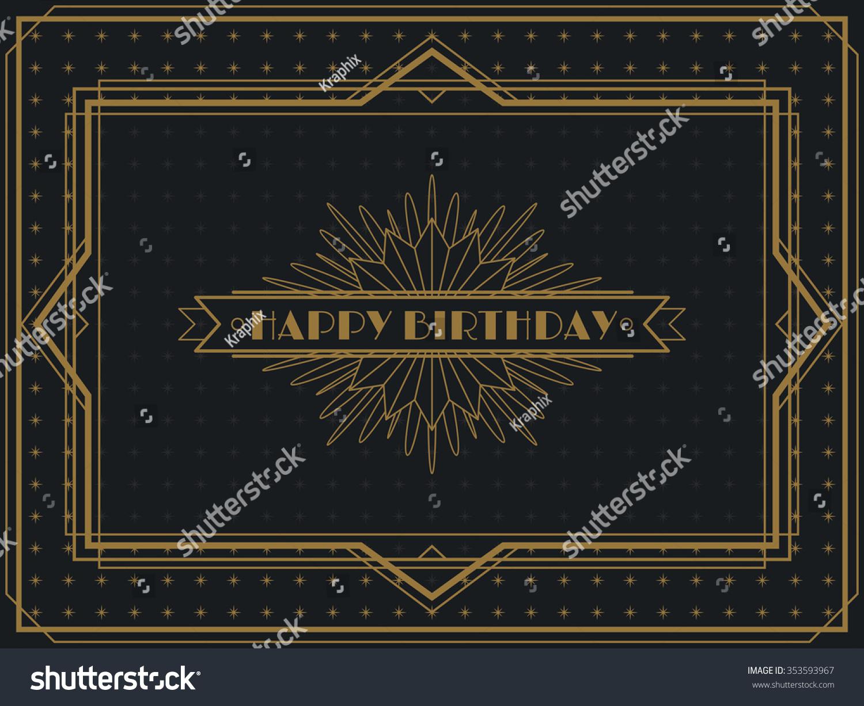 Vintage Art Deco Happy Birthday Card Stock-Vektorgrafik 353593967 ...