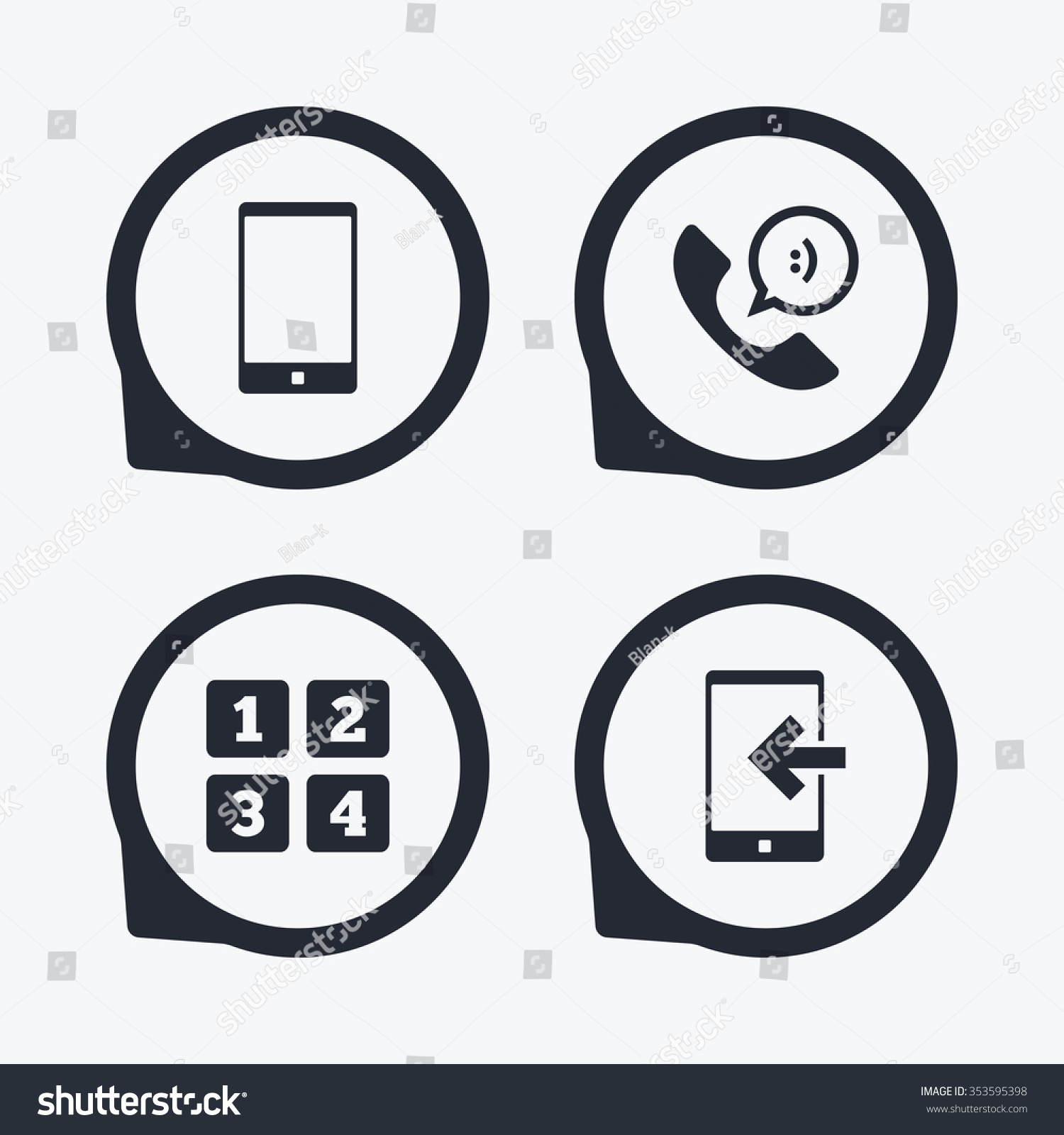 Phone icons smartphone incoming call sign stock vector 353595398 phone icons smartphone incoming call sign call center support symbol cellphone keyboard symbol biocorpaavc Images