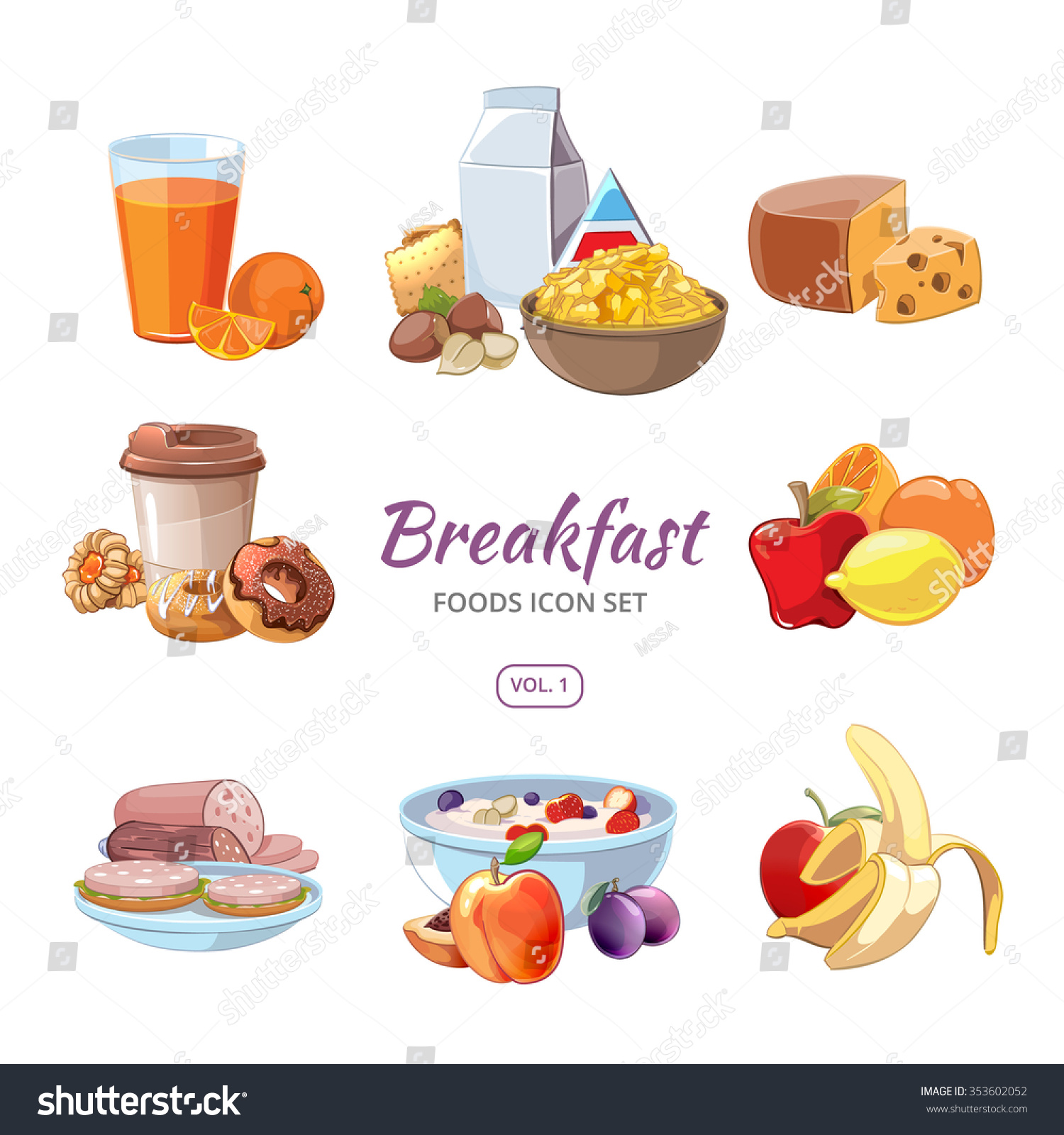 Breakfast Food Icons Cartoon Style Lunch Stock Vector 353602052 ...