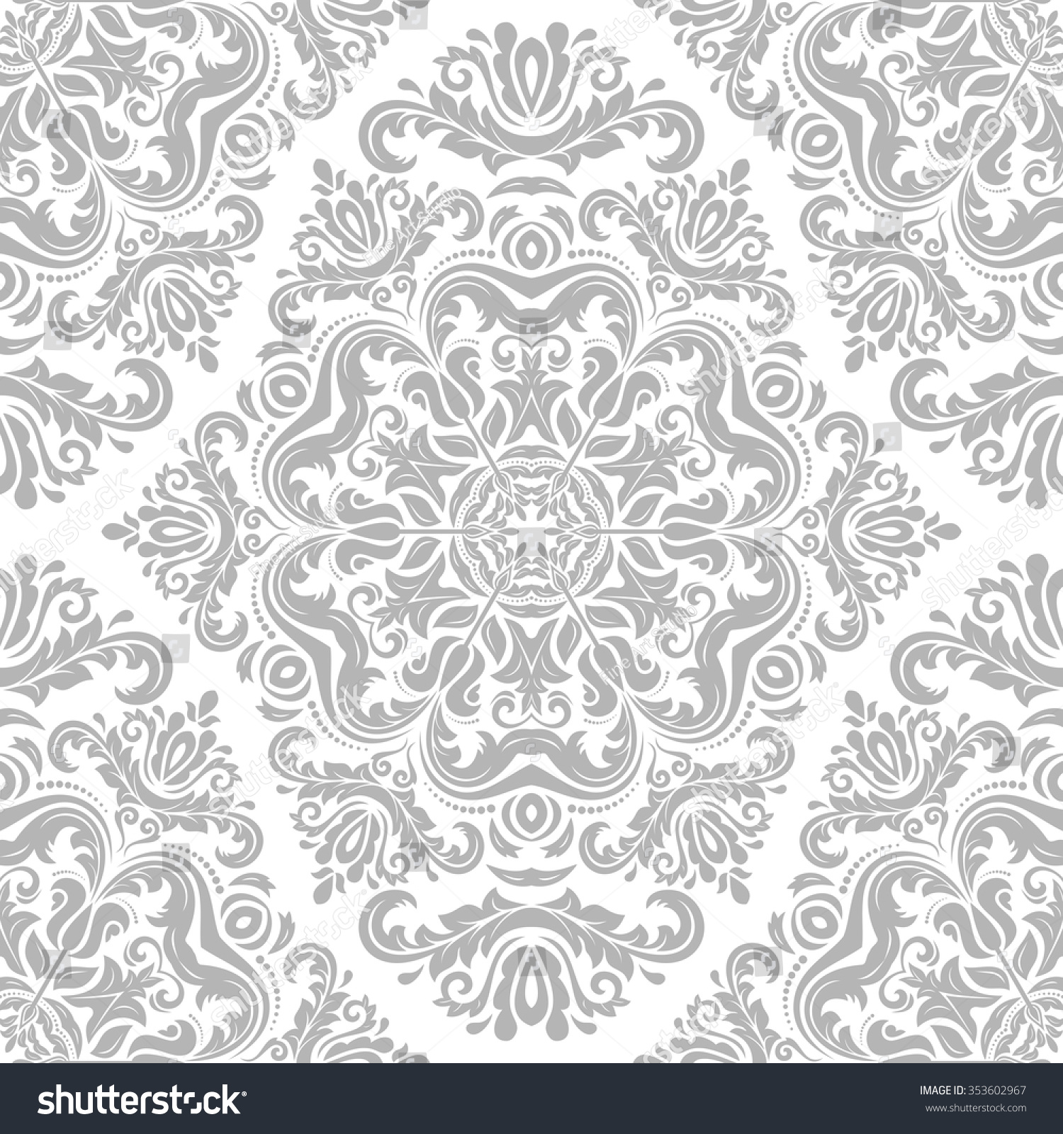 Damask Seamless Ornament Traditional Vector Silver Stock