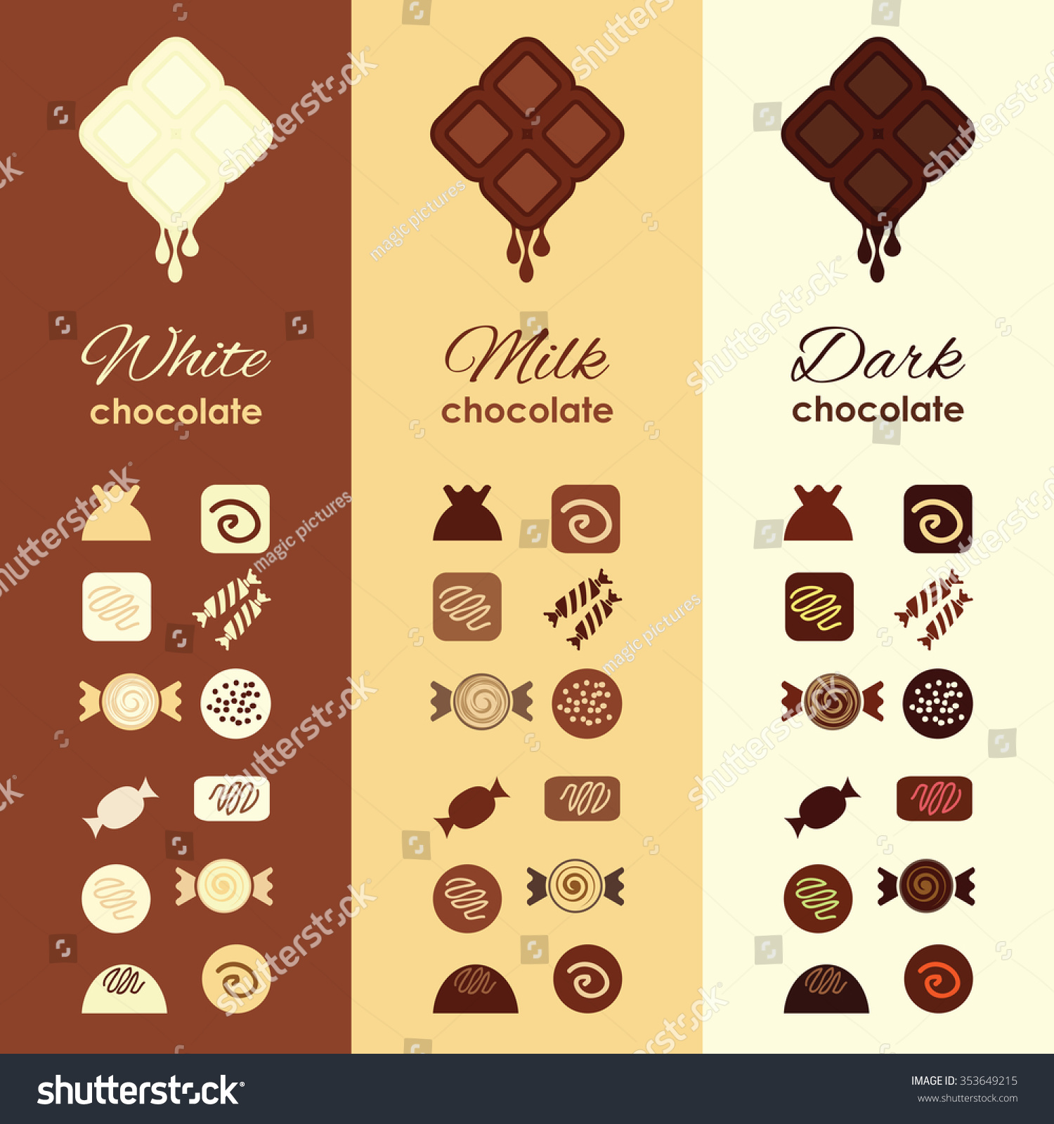 Vector Illustration Types Chocolate Stock Vector 353649215 ...