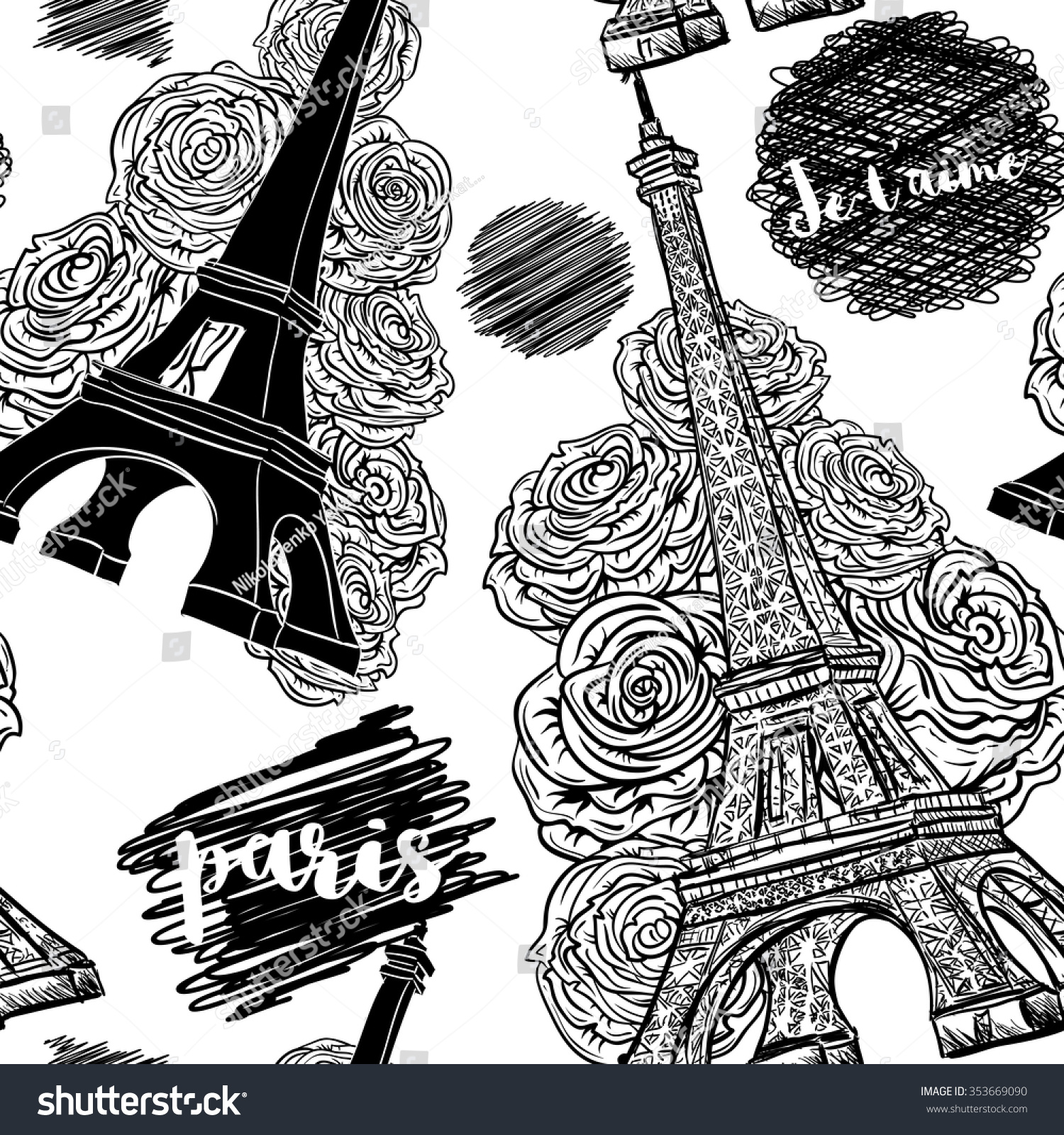 paris vintage seamless pattern eiffel tower stock vector 353669090