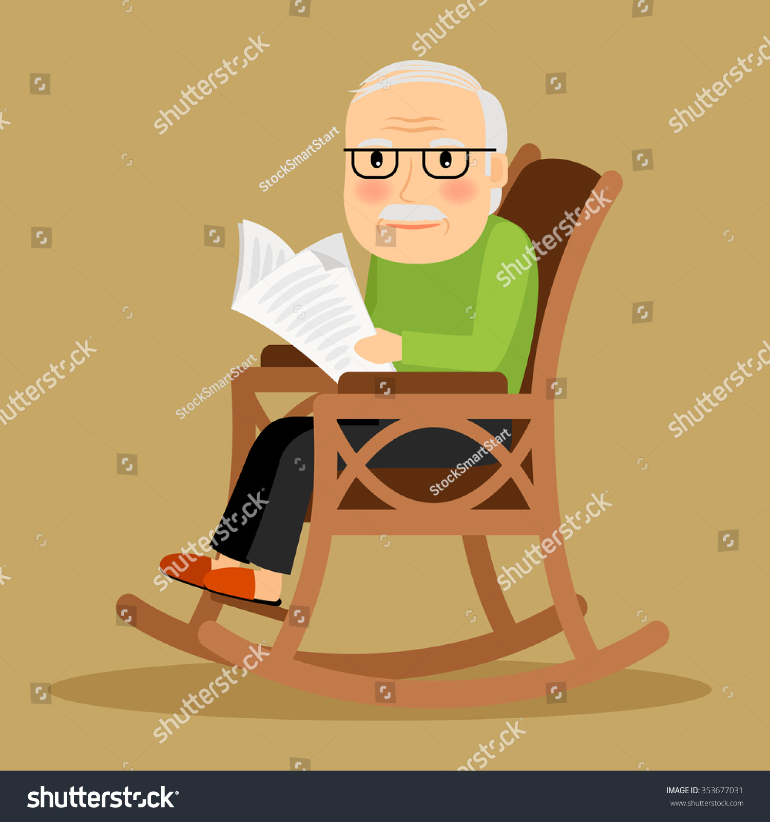Old Man Sitting Rocking Chair Reading Stock Vector