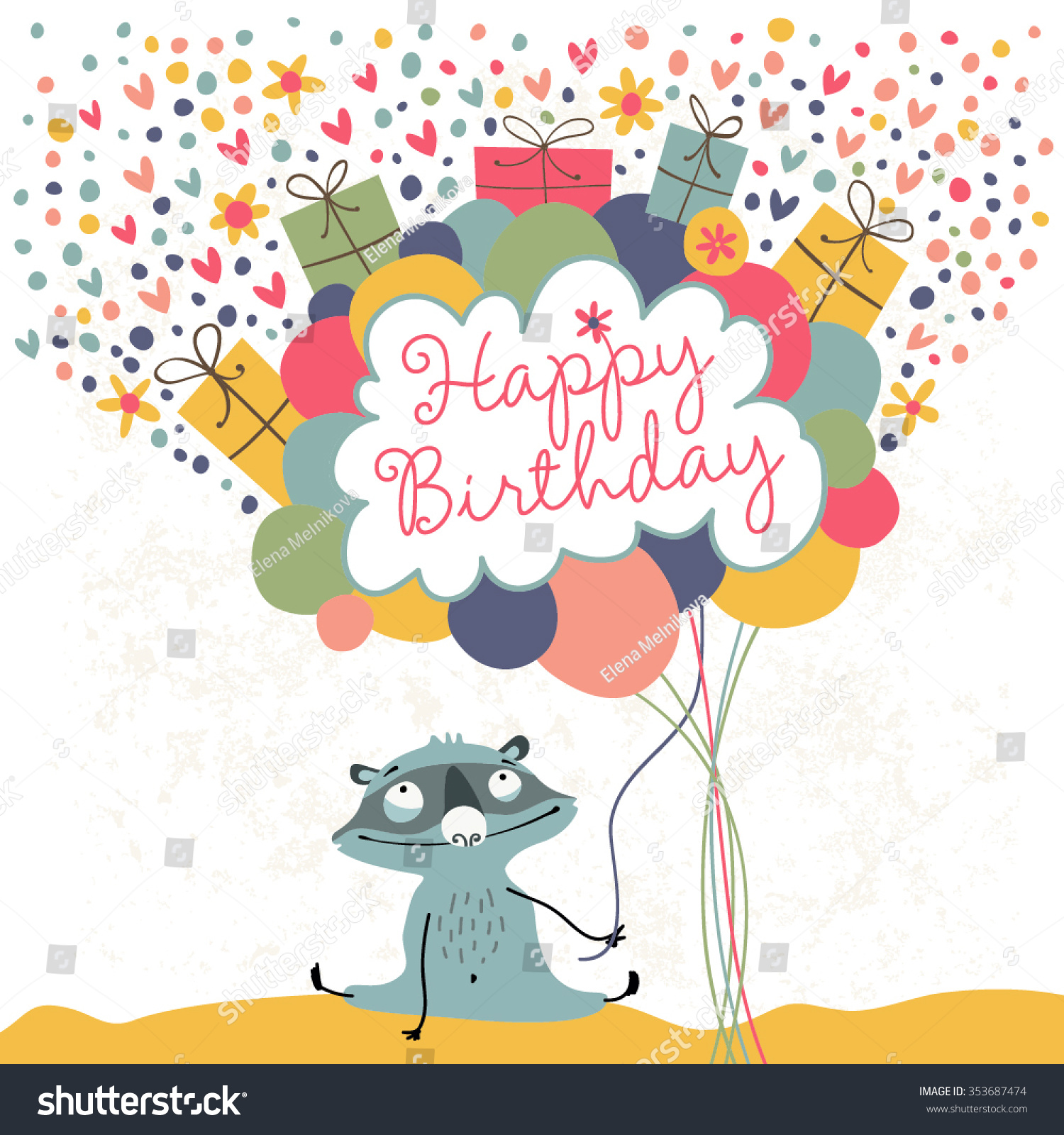 Happy Birthday Greeting Card Cute Raccoon Stock Vector Royalty Free