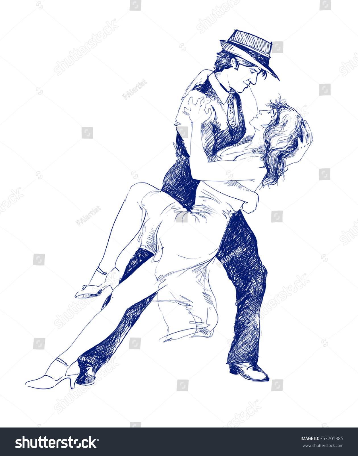 Illustration sketch drawing couple dancing love romance sensual man and woman