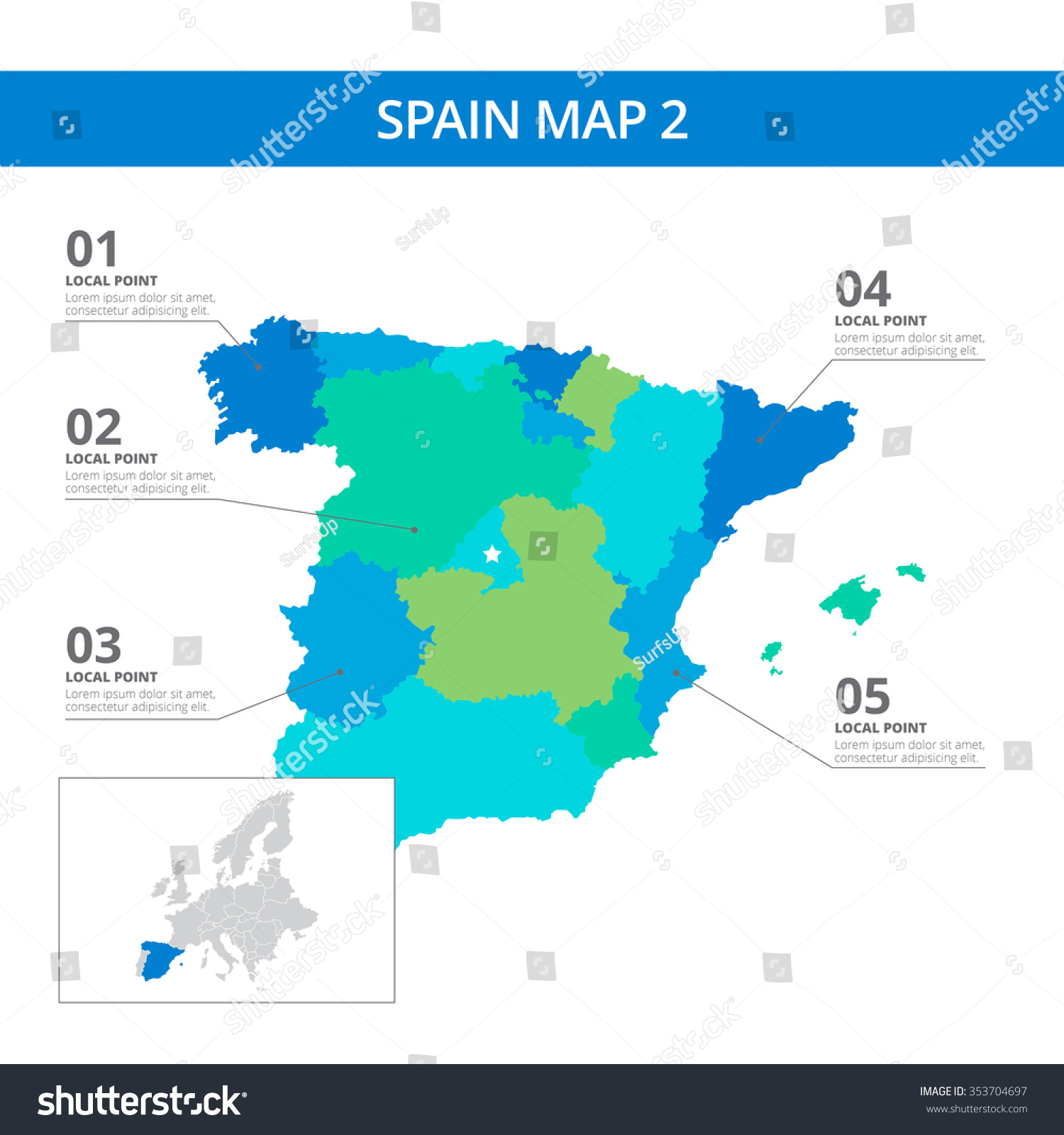 Editable template detailed map spain information vectores en stock editable template of detailed map of spain with information marks and country silhouette on world map gumiabroncs Images