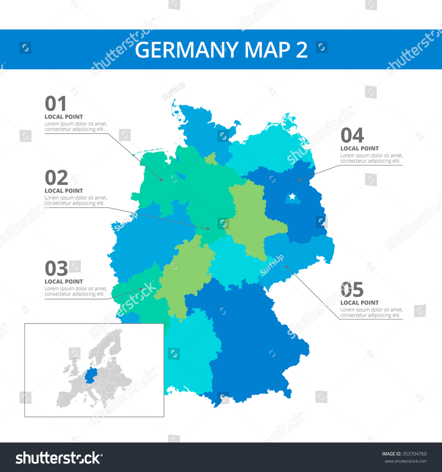 Editable Template Detailed Map Germany Information Stock Vector - Germany map in world map