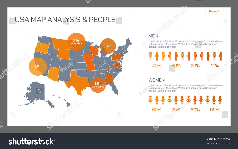 Editable Infographic Template Usa Map Analysis Stock Vector Usa Map Template
