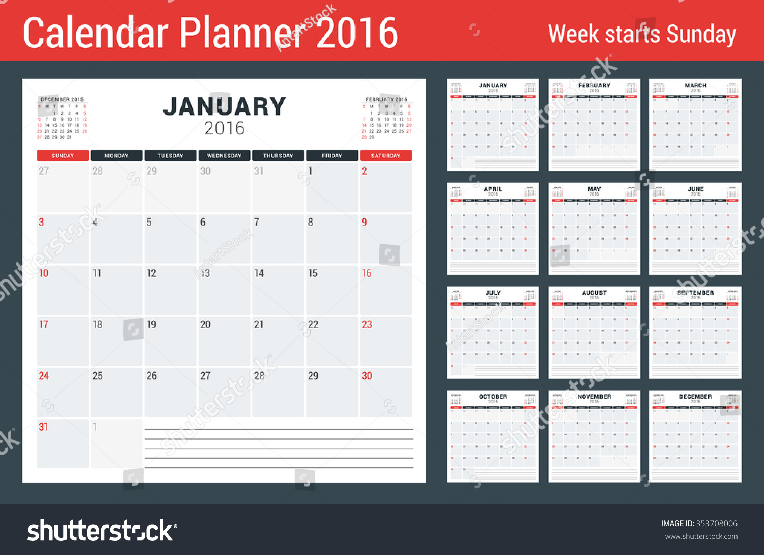 Weekly Calendar Vector : Calendar set year vector stationery stock