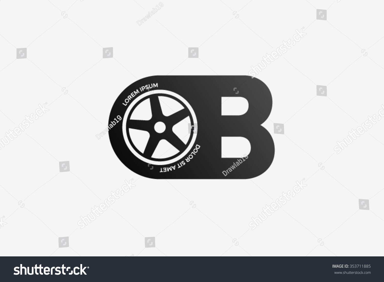 B Letter Logo Car Wheel Logo Stock Vector Royalty Free 353711885