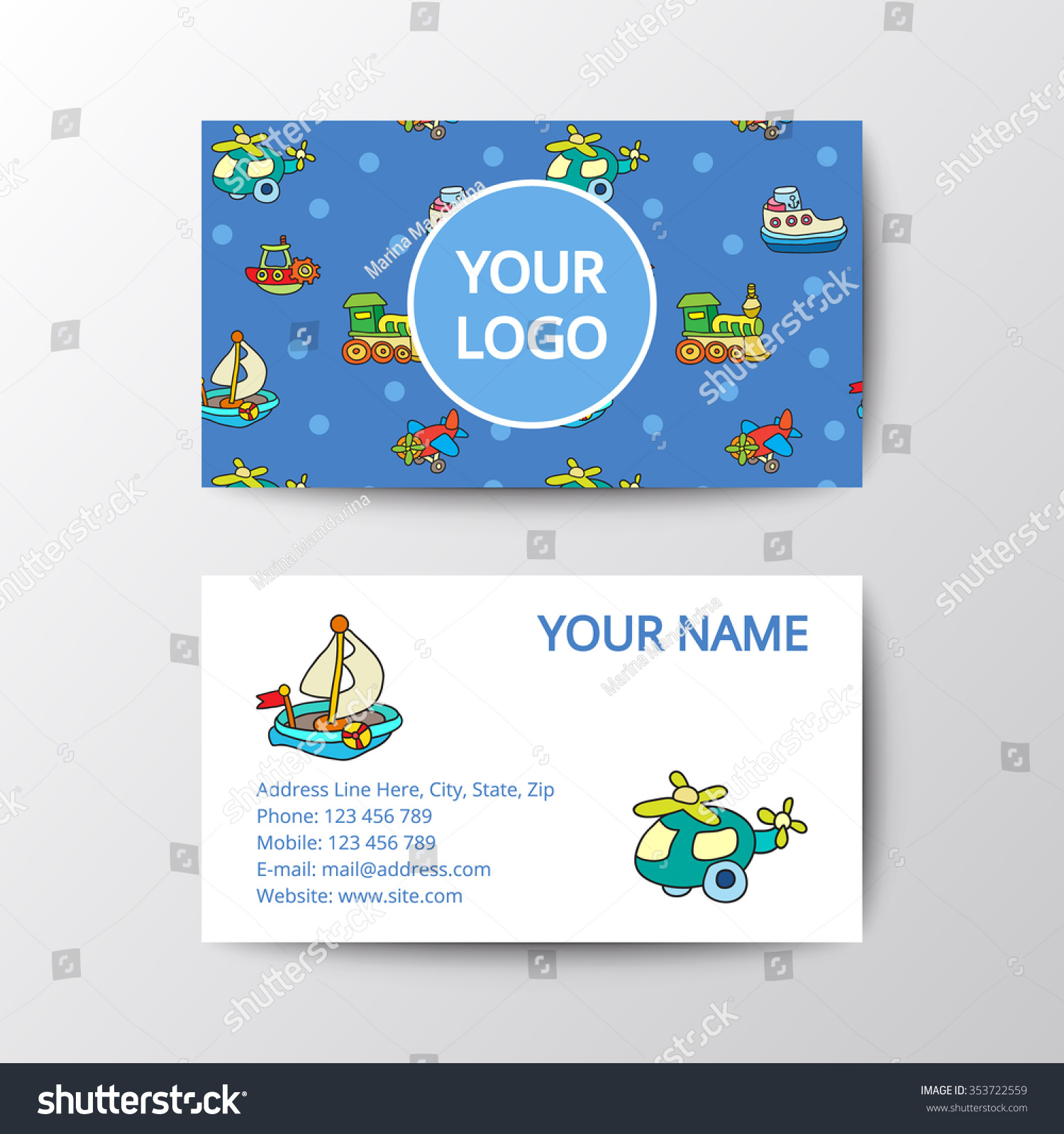business card kids toys template corporate stock vector