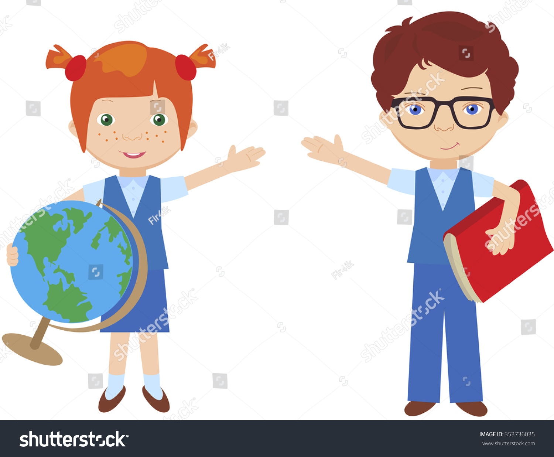 Boy Girl School Uniform Schoolgirl Globe Stock Vector ...