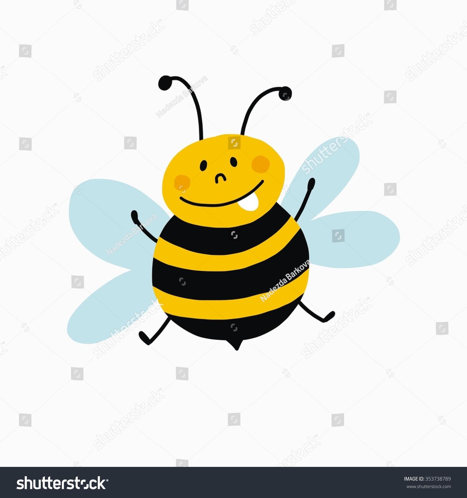 funny cartoon bee print stock vector 353738789 shutterstock