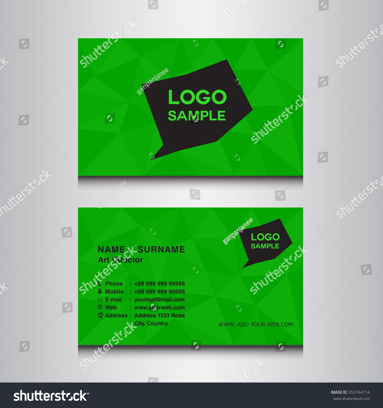 Green Name Card Design Template Vector Stock Vector