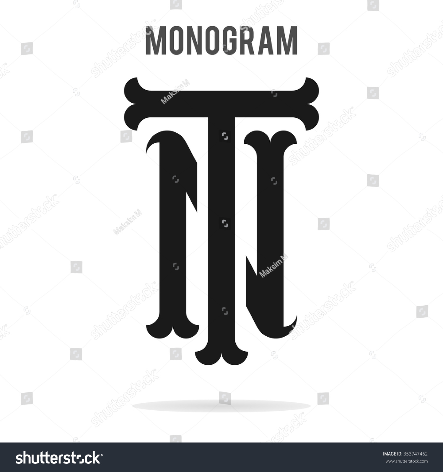 Letters T And N Logo Template Baseball Monogram