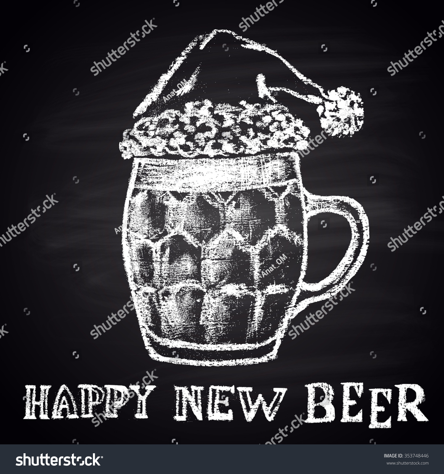 Chalk Drawn Original Illustration For Merry Christmas And Happy New Year With Beer Mug Winter