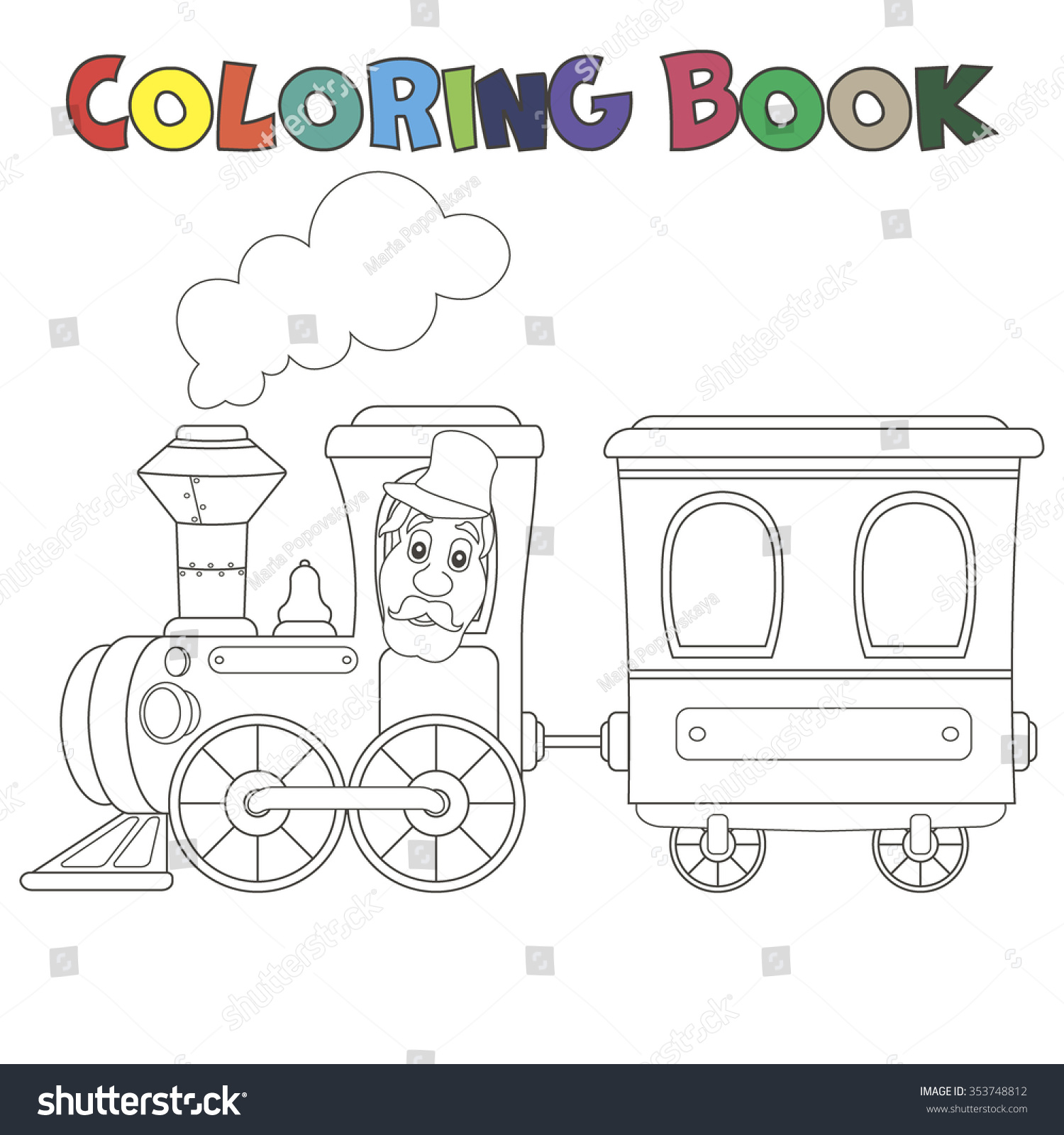 Coloring Book Train With Carriages