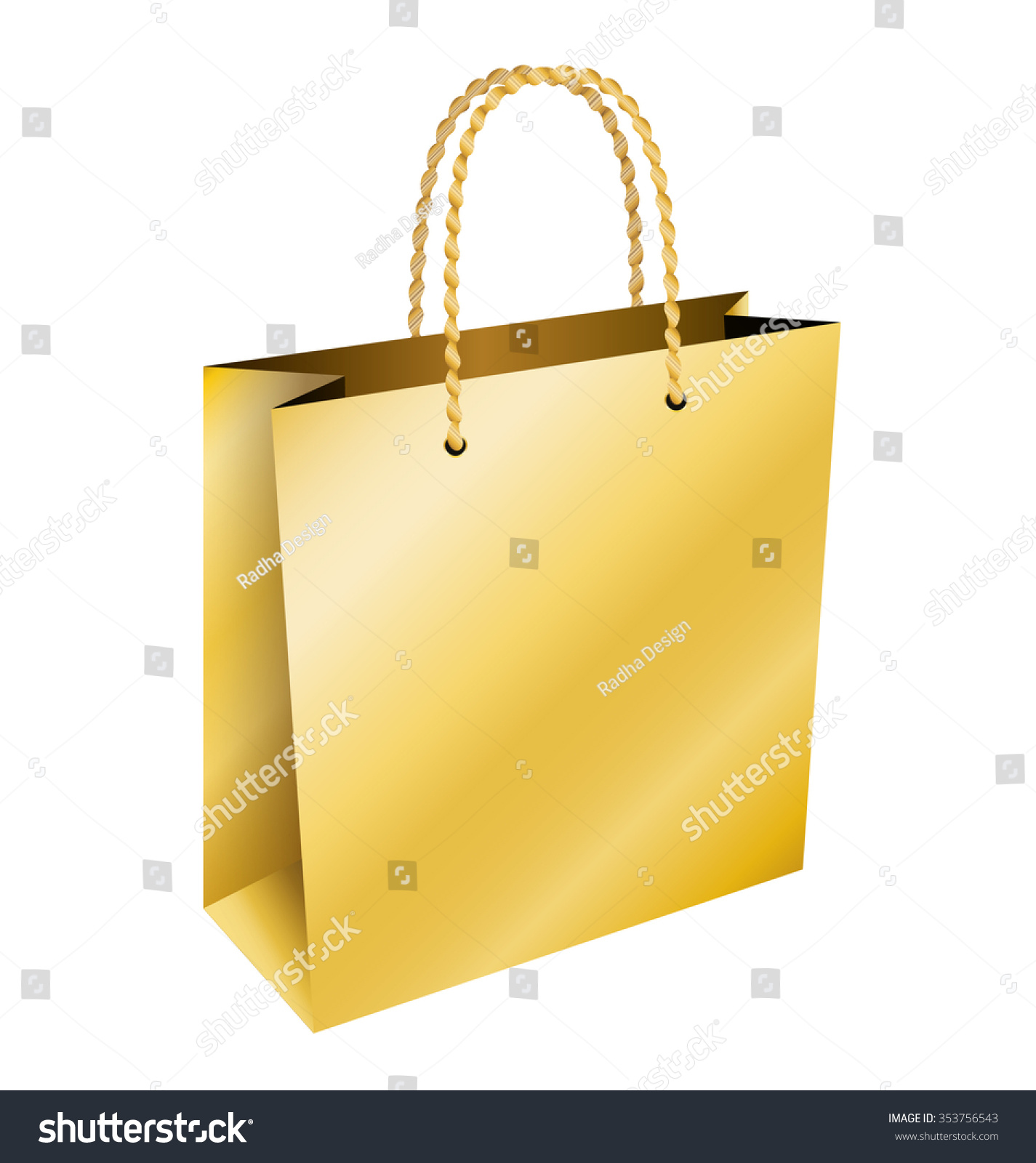 Paper bag yellow - Golden Paper Bag Christmas Gift Isolated Vector Design
