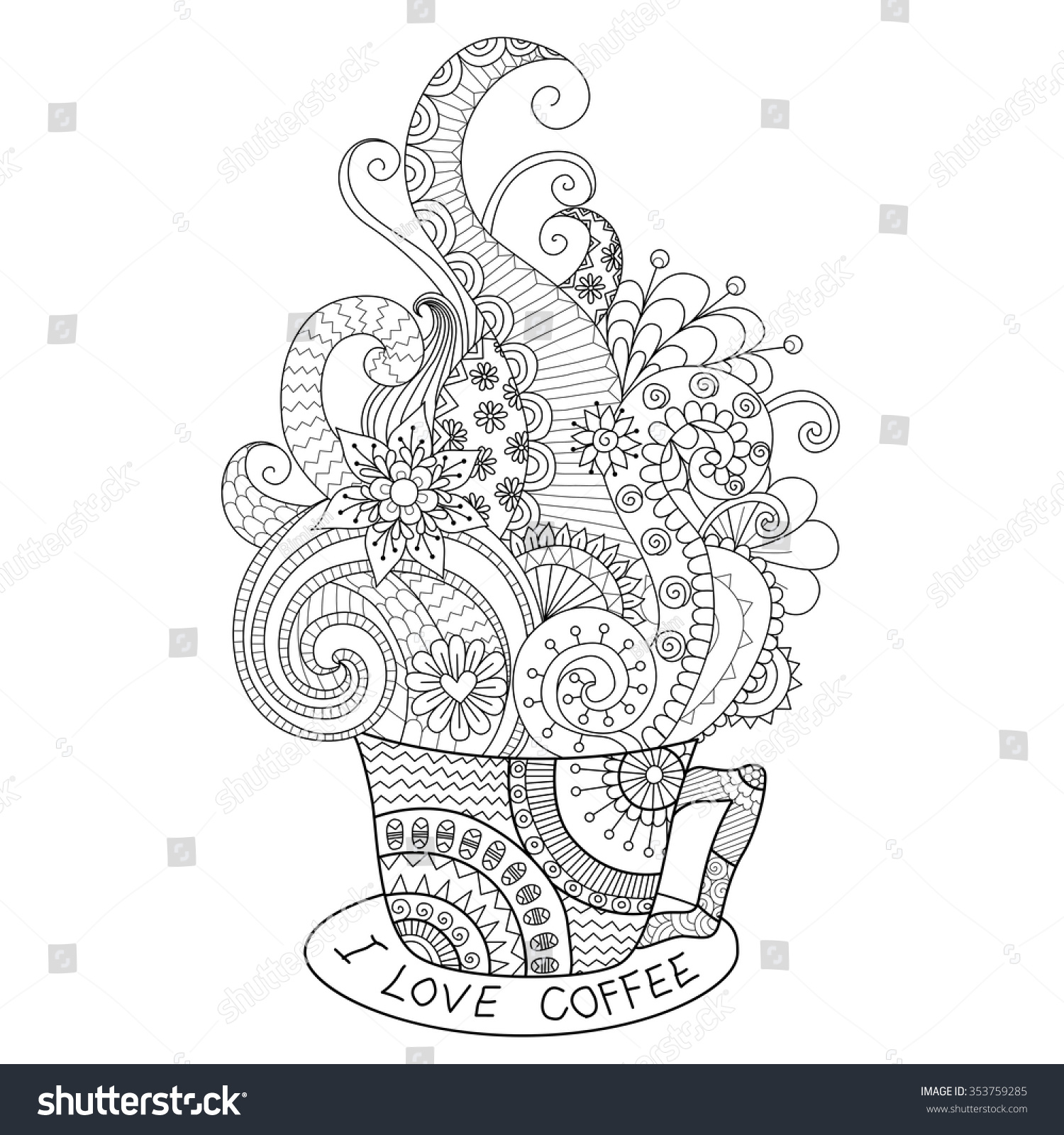 A Cup Of Hot Coffee Zentangle Design For Coloring Book Adult