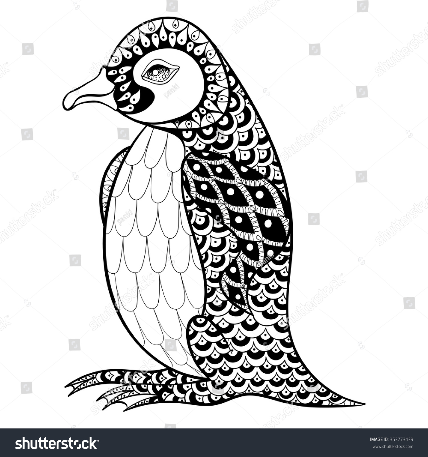 hand drawn artistically king penguin zentangle stock vector