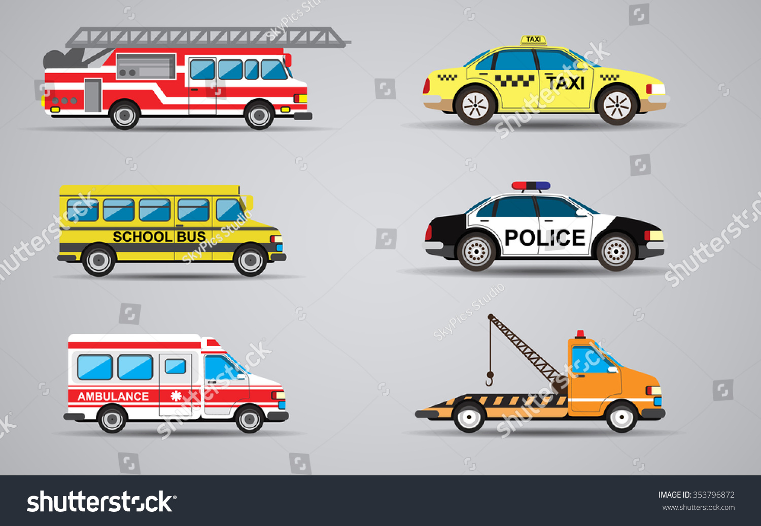 set isolated transport icons fire truck stock illustration 353796872 shutterstock. Black Bedroom Furniture Sets. Home Design Ideas