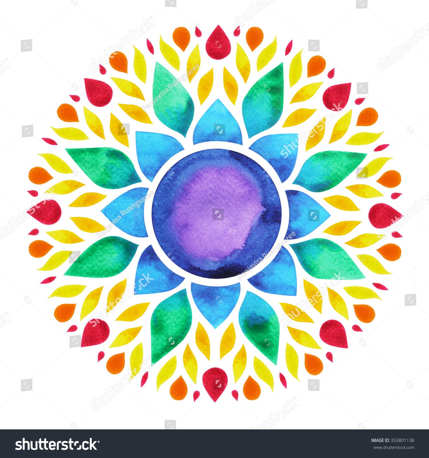 7 Color Chakra Sign Symbol Colorful Stock Illustration 353801138