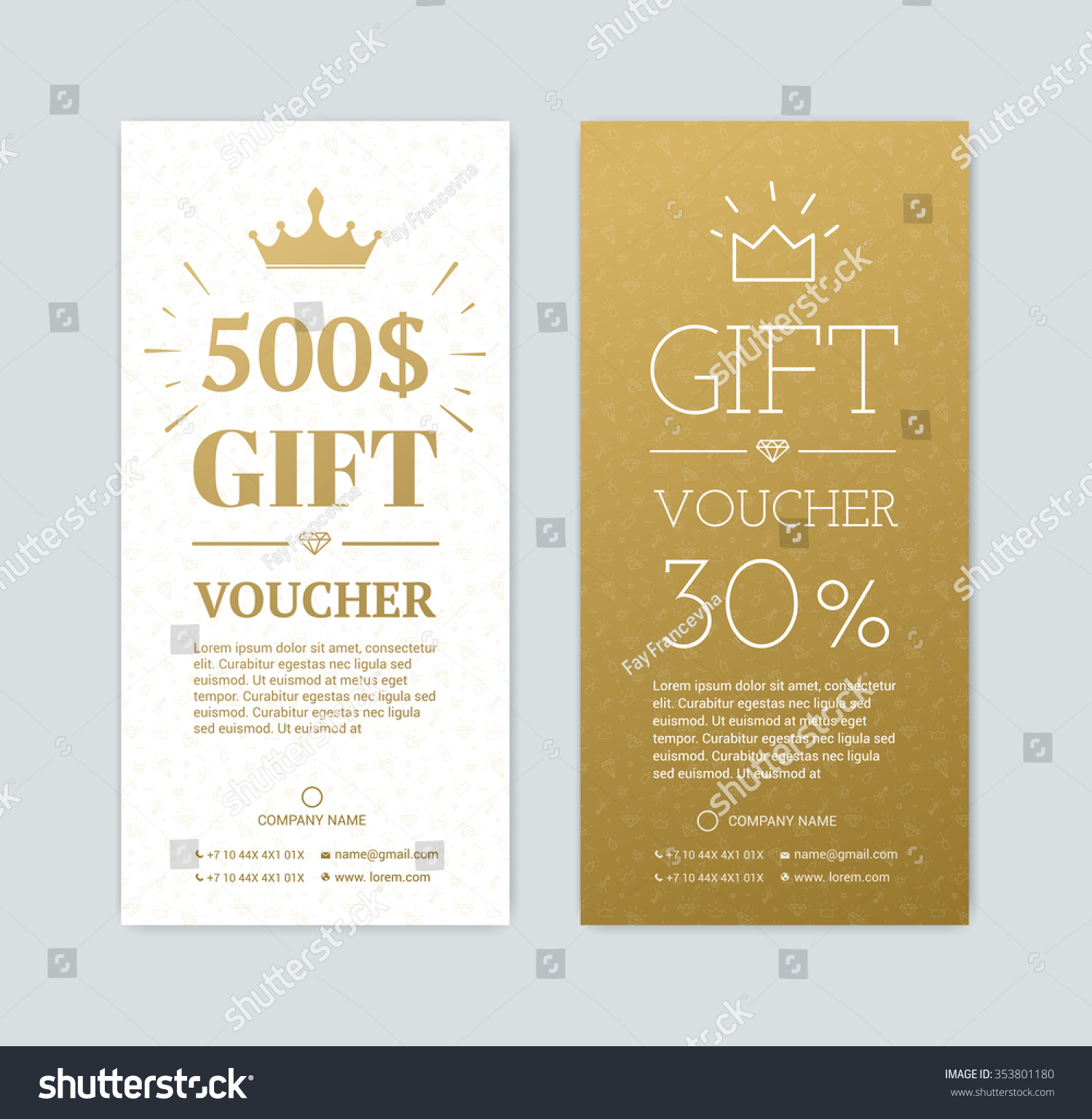 Gift voucher for shopping in the store Gold card for a gift for the holidays Exclusive certificate for a gift