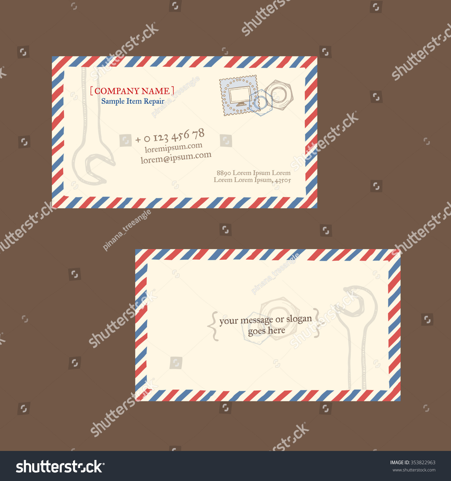 Computer display repair business card vector stock vector computer display repair business card vector template styled as a vintage envelope with postage magicingreecefo Images