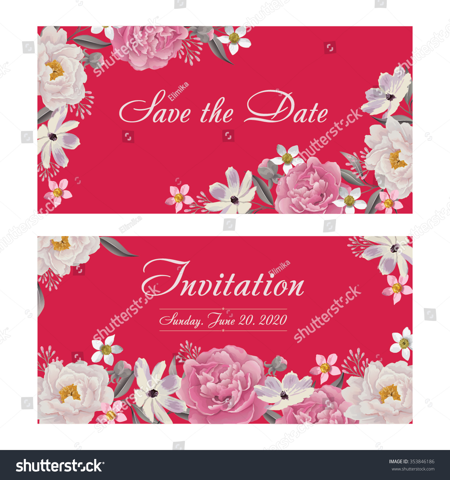 Flower Wedding Invitation Card Save Date Stock Vector (Royalty Free ...